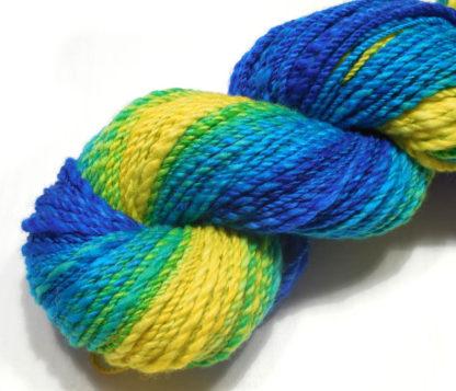 Handspun yarn - Lemon to deep blue - DSCN3397-1-c